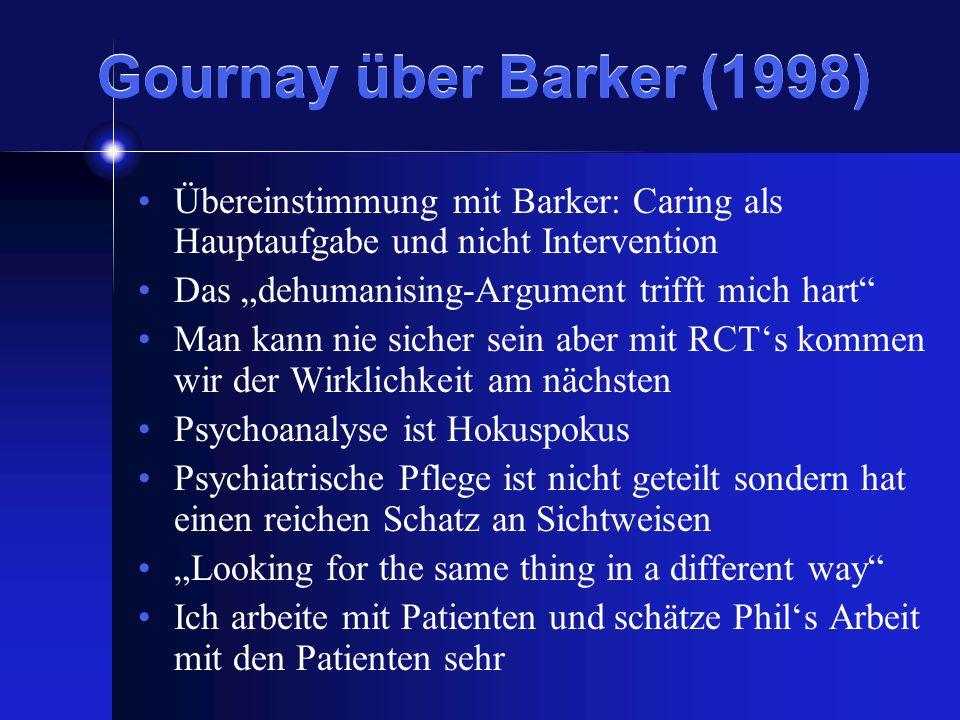 Gournay über Barker (1998) Übereinstimmung mit Barker: Caring als Hauptaufgabe und nicht Intervention Das dehumanising-Argument trifft mich hart Man k