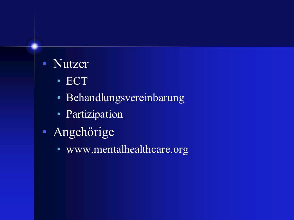 Nutzer ECT Behandlungsvereinbarung Partizipation Angehörige www.mentalhealthcare.org