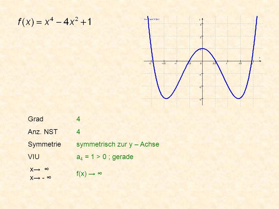 Grad Anz. NST Symmetrie VIU x x - 4 4 symmetrisch zur y – Achse a 4 = 1 > 0 ; gerade f(x)