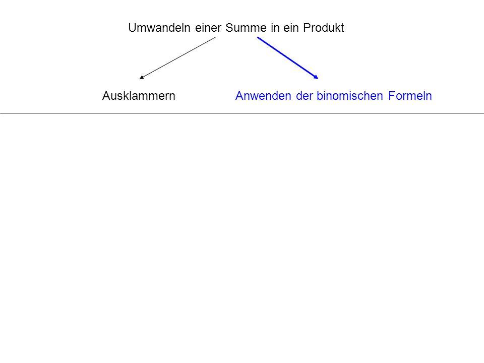 Umwandeln einer Summe in ein Produkt AusklammernAnwenden der binomischen Formeln