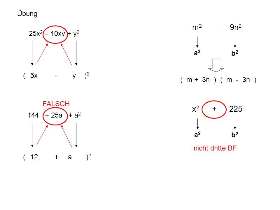 Übung 25x 2 – 10xy + y 2 ( - ) 2 5xy 144 + 25a + a 2 ( + ) 2 12a a2a2 b2b2 ( m + 3n ) ( m - 3n ) m 2 - 9n 2 a2a2 b2b2 x 2 + 225 nicht dritte BF FALSCH