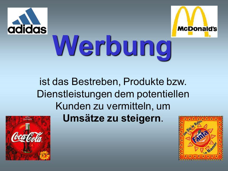 Ziele der Werbung Absatzsteigerung Gewinnmaximierung Das Produkt anderen vorziehen Neue Artikel einführen Neue Bedürfnisse wecken