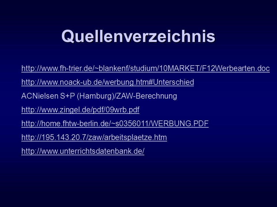 Quellenverzeichnis http://www.fh-trier.de/~blankenf/studium/10MARKET/F12Werbearten.doc http://www.noack-ub.de/werbung.htm#Unterschied ACNielsen S+P (H