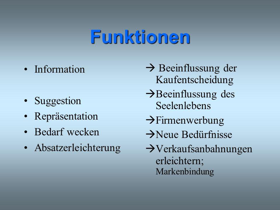 Funktionen Information Suggestion Repräsentation Bedarf wecken Absatzerleichterung Beeinflussung der Kaufentscheidung Beeinflussung des Seelenlebens F