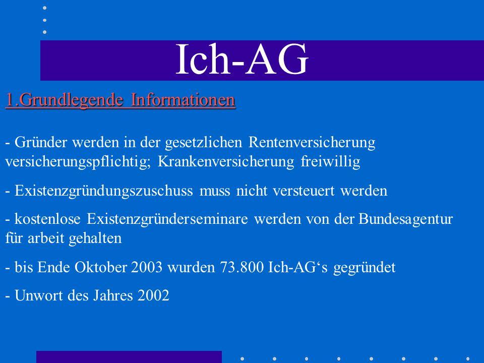 Ich-AG - Unwort des Jahres 2002 - bis Ende Oktober 2003 wurden 73.800 Ich-AGs gegründet - Existenzgründungszuschuss muss nicht versteuert werden - kos