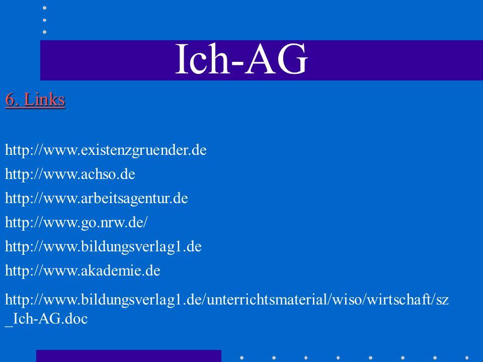 Ich-AG 6. Links http://www.existenzgruender.de http://www.go.nrw.de/ http://www.arbeitsagentur.de http://www.akademie.de http://www.achso.de http://ww