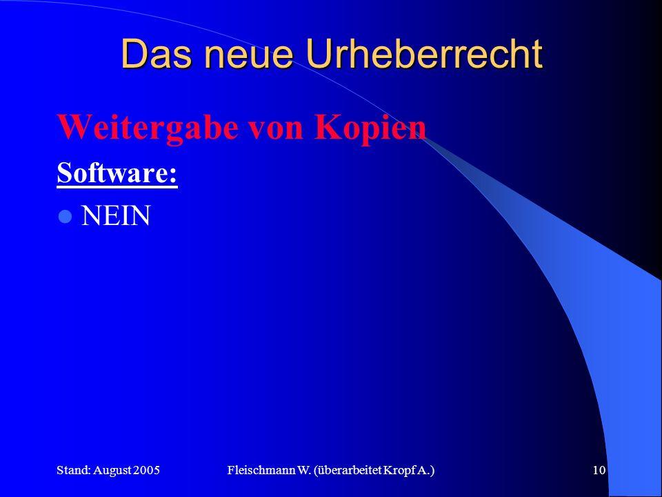 Stand: August 2005Fleischmann W. (überarbeitet Kropf A.)10 Das neue Urheberrecht Weitergabe von Kopien Software: NEIN