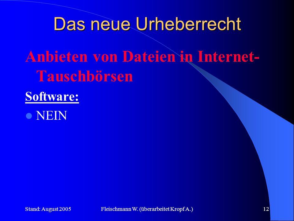 Stand: August 2005Fleischmann W. (überarbeitet Kropf A.)12 Das neue Urheberrecht Anbieten von Dateien in Internet- Tauschbörsen Software: NEIN