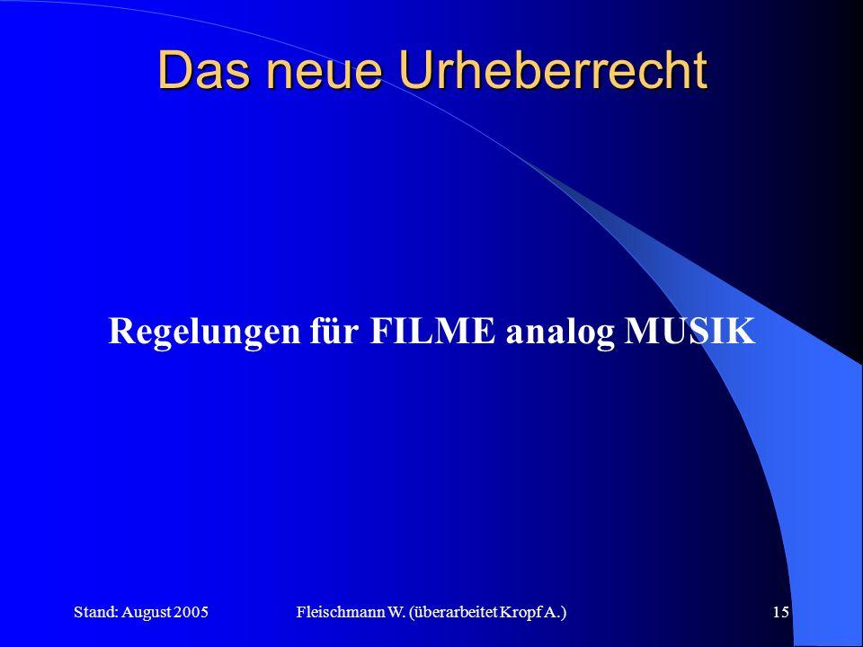 Stand: August 2005Fleischmann W. (überarbeitet Kropf A.)15 Das neue Urheberrecht Regelungen für FILME analog MUSIK