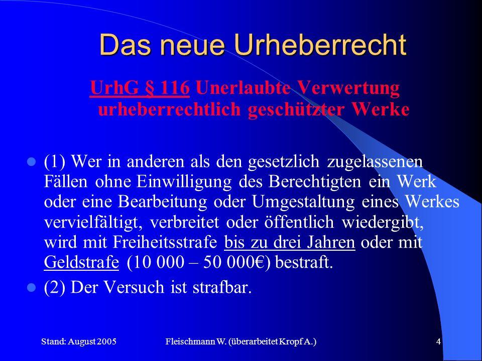 Stand: August 2005Fleischmann W. (überarbeitet Kropf A.)4 Das neue Urheberrecht UrhG § 116 Unerlaubte Verwertung urheberrechtlich geschützter Werke (1