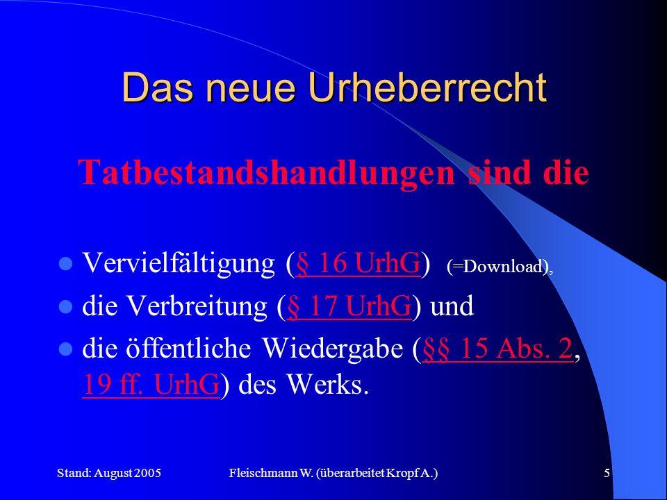 Stand: August 2005Fleischmann W. (überarbeitet Kropf A.)5 Das neue Urheberrecht Tatbestandshandlungen sind die Vervielfältigung (§ 16 UrhG) (=Download