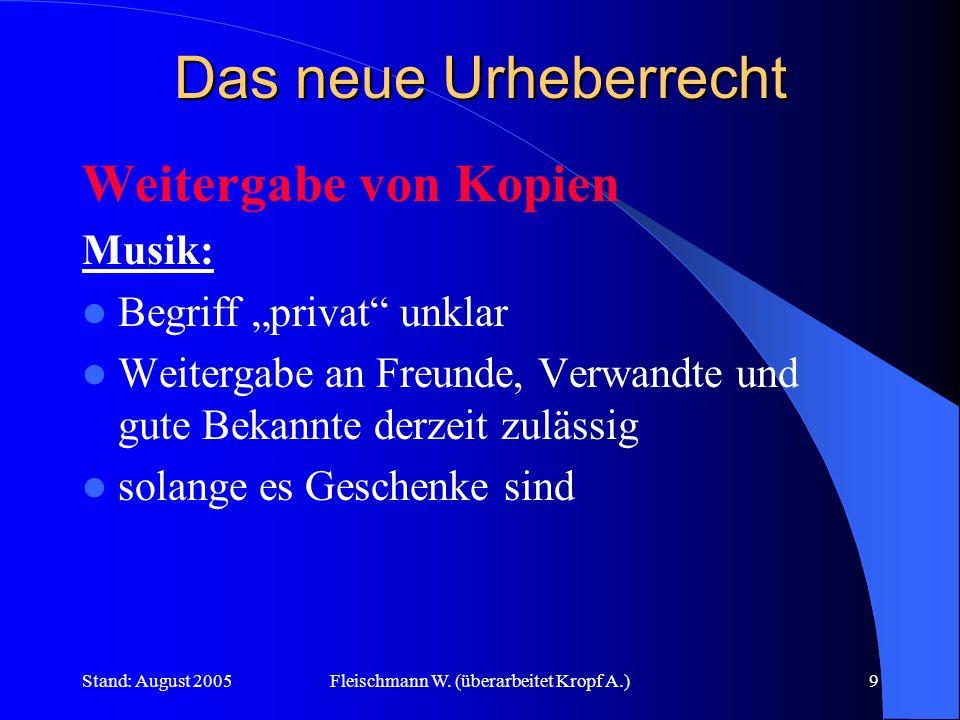 Stand: August 2005Fleischmann W. (überarbeitet Kropf A.)9 Das neue Urheberrecht Weitergabe von Kopien Musik: Begriff privat unklar Weitergabe an Freun