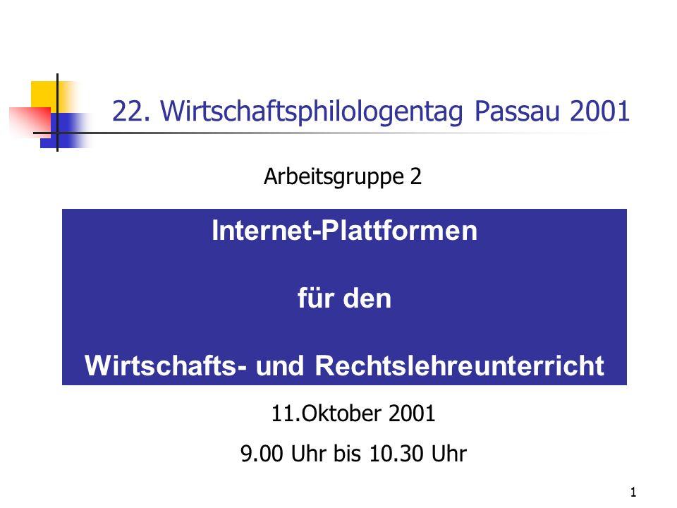 1 22. Wirtschaftsphilologentag Passau 2001 Internet-Plattformen für den Wirtschafts- und Rechtslehreunterricht Arbeitsgruppe 2 11.Oktober 2001 9.00 Uh