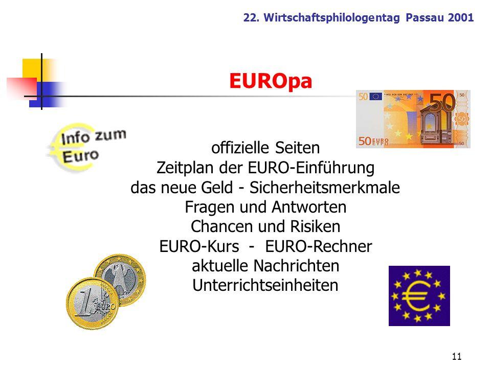 11 22. Wirtschaftsphilologentag Passau 2001 offizielle Seiten Zeitplan der EURO-Einführung das neue Geld - Sicherheitsmerkmale Fragen und Antworten Ch