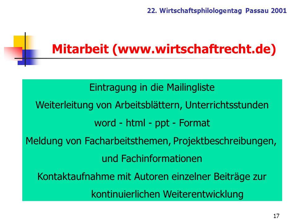 17 22. Wirtschaftsphilologentag Passau 2001 Mitarbeit (www.wirtschaftrecht.de) Eintragung in die Mailingliste Weiterleitung von Arbeitsblättern, Unter