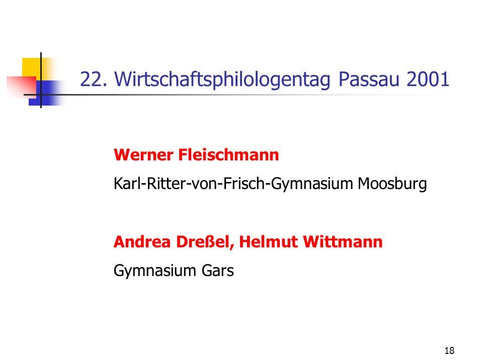 18 22. Wirtschaftsphilologentag Passau 2001 Werner Fleischmann Karl-Ritter-von-Frisch-Gymnasium Moosburg Andrea Dreßel, Helmut Wittmann Gymnasium Gars
