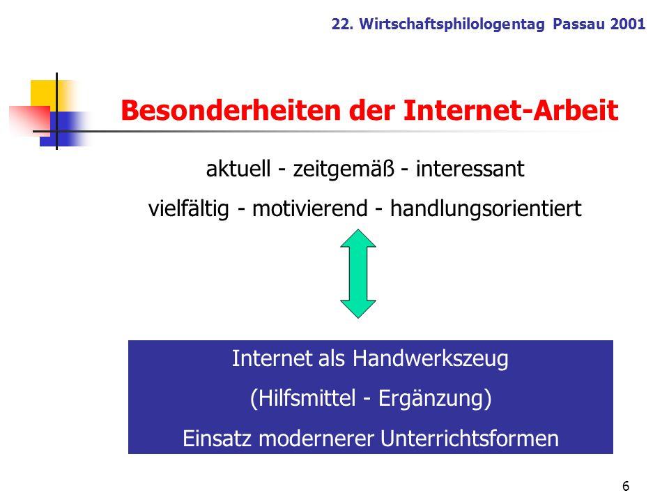 6 22. Wirtschaftsphilologentag Passau 2001 aktuell - zeitgemäß - interessant vielfältig - motivierend - handlungsorientiert Internet als Handwerkszeug
