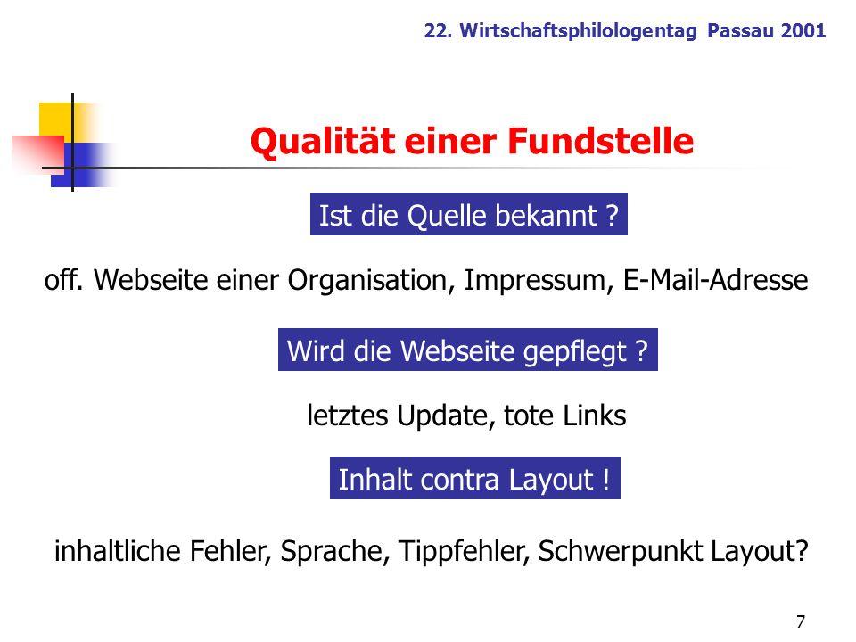 7 22. Wirtschaftsphilologentag Passau 2001 inhaltliche Fehler, Sprache, Tippfehler, Schwerpunkt Layout? Ist die Quelle bekannt ? Wird die Webseite gep