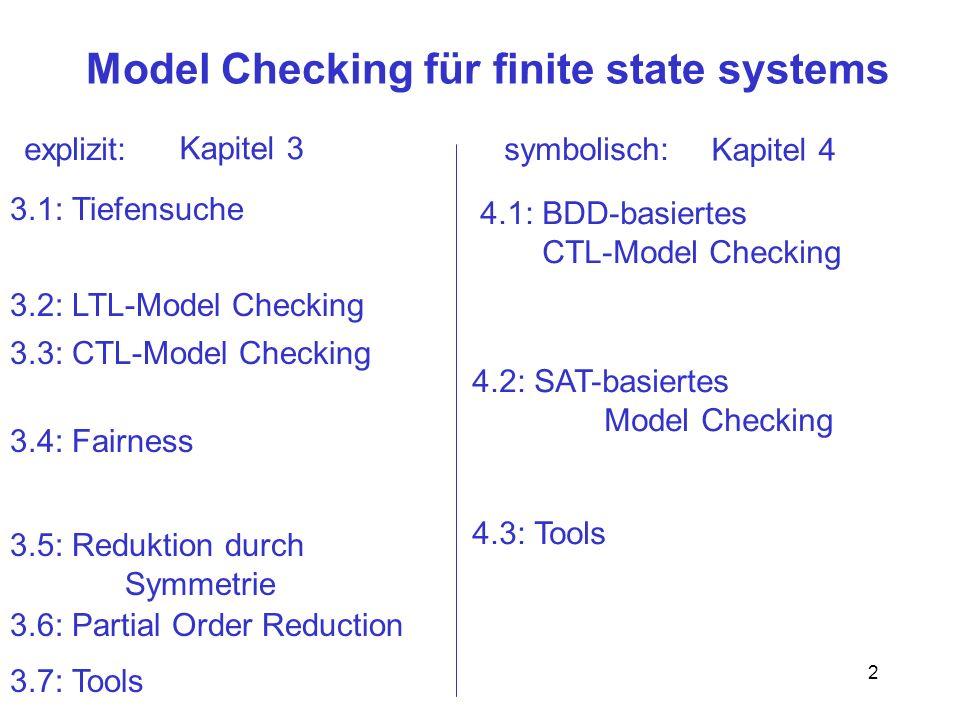3 Fazit 3.1 – 3.4 Explizites Model Checking basiert im wesentlichen auf Tiefensuche Die Algorithmen sind extrem leichtgewichtig, arbeiten aber auf riesigen Graphen wichtigstes Mittel zur Leistungssteigerung ist Verkleinerung des Transitionssystems Dies ist Gegenstand der nächsten 2 Abschnitte