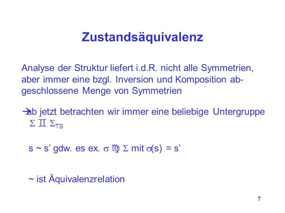 8 3.5.2 reduziertes Transitionssystem TS = [S/~, E, I/~,* ] E = { [ [s],[s] ]   ex.
