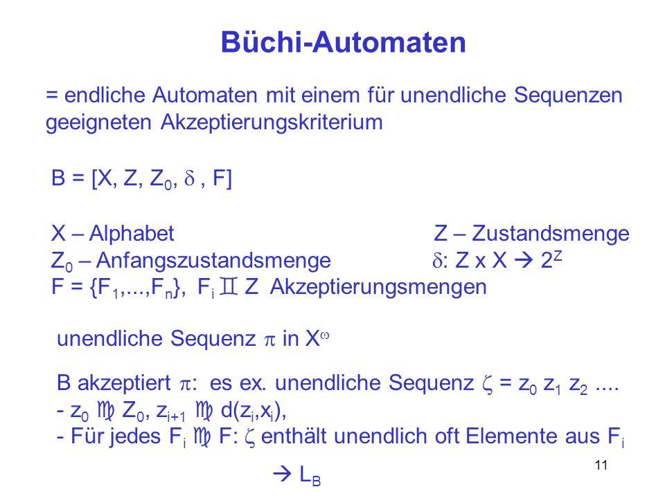 11 Büchi-Automaten = endliche Automaten mit einem für unendliche Sequenzen geeigneten Akzeptierungskriterium B = [X, Z, Z 0,, F] X – Alphabet Z – Zust