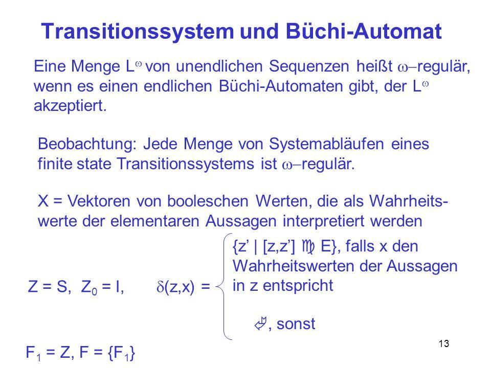 13 Transitionssystem und Büchi-Automat Eine Menge L von unendlichen Sequenzen heißt regulär, wenn es einen endlichen Büchi-Automaten gibt, der L akzep