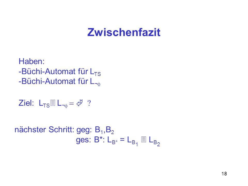 18 Zwischenfazit Haben: -Büchi-Automat für L TS -Büchi-Automat für L ¬ Ziel: L TS L ¬ nächster Schritt: geg: B 1,B 2 ges: B*: L B* = L B 1 L B 2
