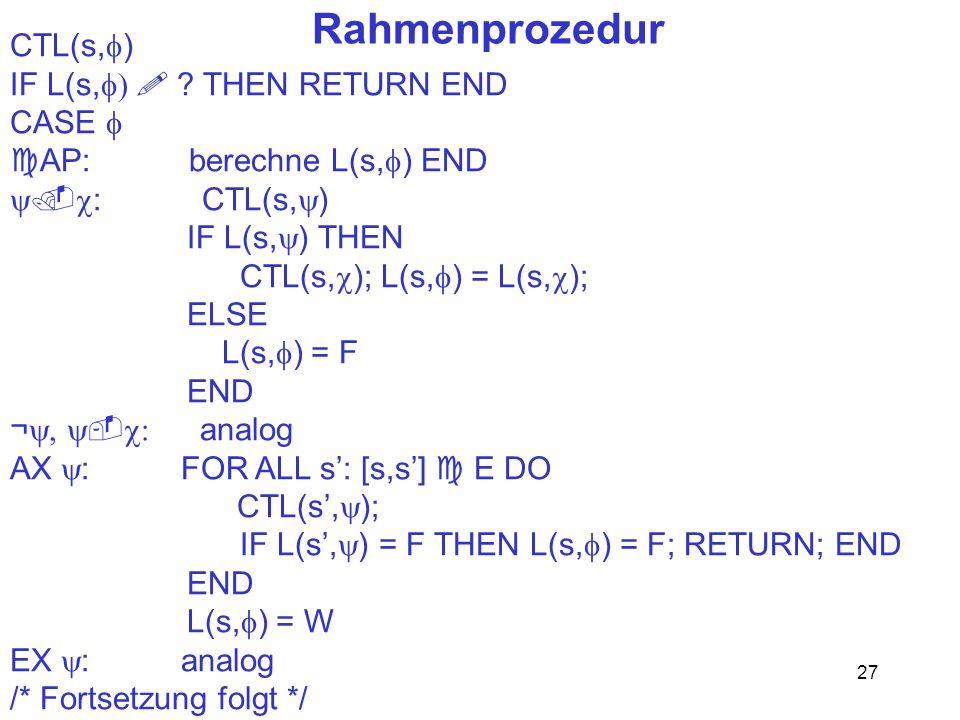 27 Rahmenprozedur CTL(s, ) IF L(s, ? THEN RETURN END CASE AP: berechne L(s, ) END : CTL(s, ) IF L(s, ) THEN CTL(s, ); L(s, ) = L(s, ); ELSE L(s, ) = F