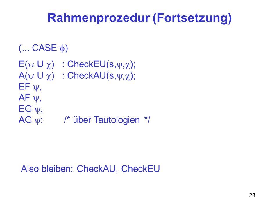 28 Rahmenprozedur (Fortsetzung) (... CASE ) E( U ) : CheckEU(s,, ); A( U ) : CheckAU(s,, ); EF, AF, EG, AG : /* über Tautologien */ Also bleiben: Chec