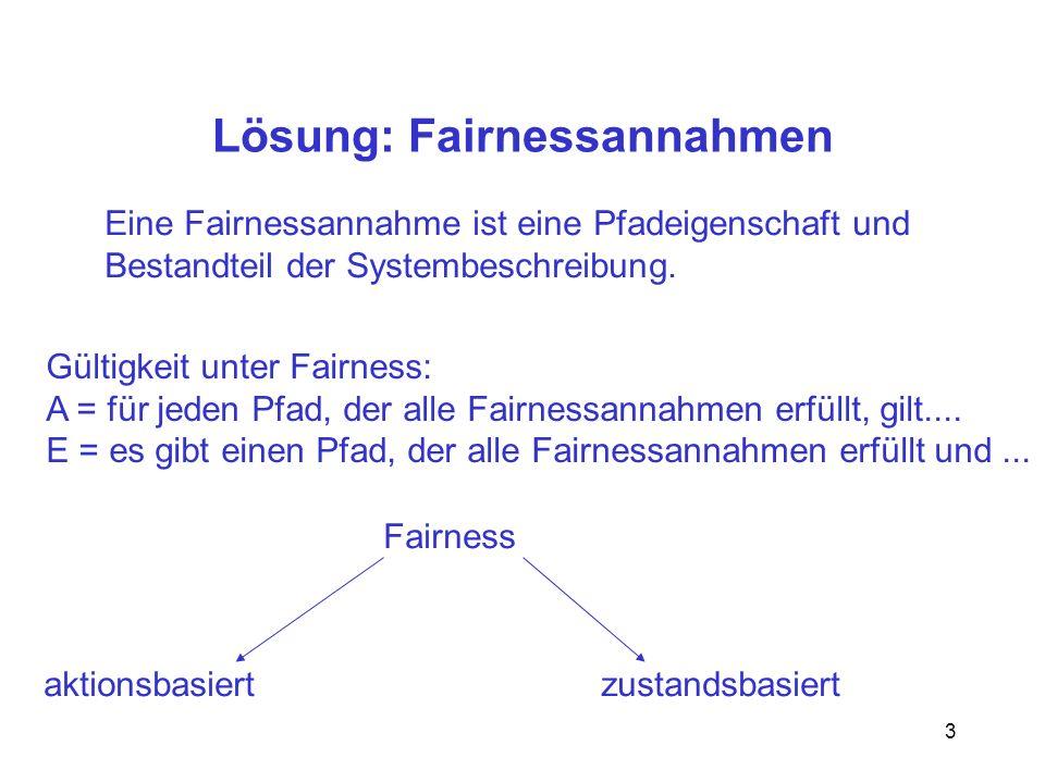 3 Lösung: Fairnessannahmen Eine Fairnessannahme ist eine Pfadeigenschaft und Bestandteil der Systembeschreibung. Gültigkeit unter Fairness: A = für je
