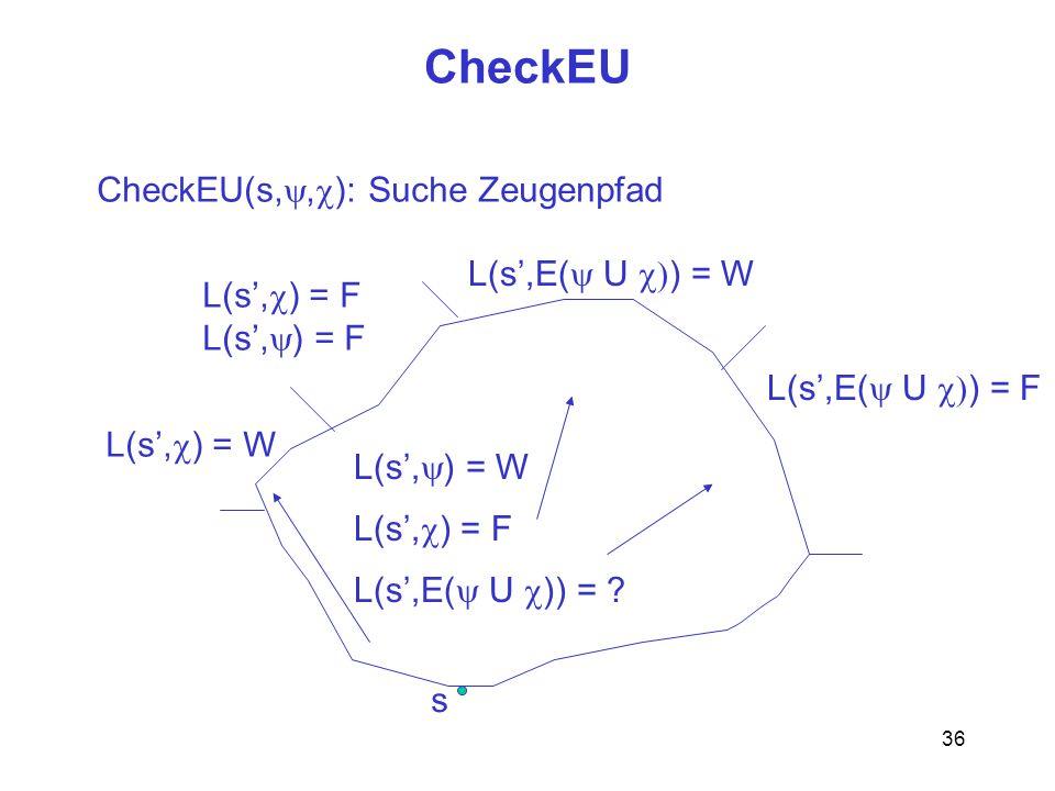 36 CheckEU s CheckEU(s,, ): Suche Zeugenpfad L(s, ) = W L(s, ) = F L(s,E( U )) = ? L(s, ) = W L(s, ) = F L(s,E( U ) = W L(s,E( U ) = F