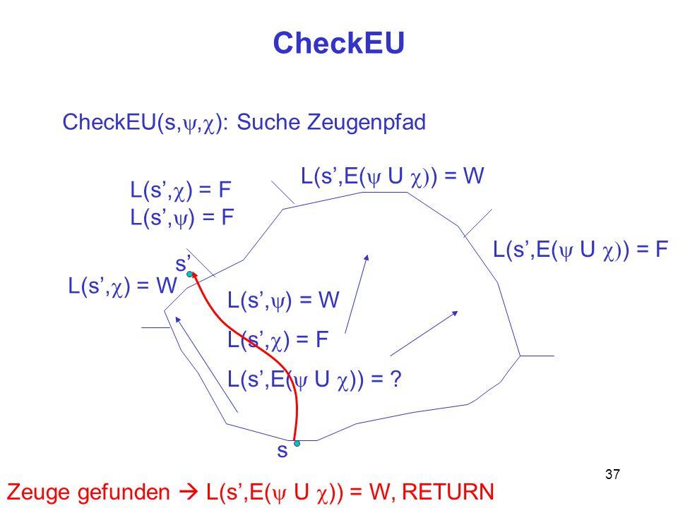 37 CheckEU s CheckEU(s,, ): Suche Zeugenpfad L(s, ) = W L(s, ) = F L(s,E( U )) = ? L(s, ) = W L(s, ) = F L(s,E( U ) = W L(s,E( U ) = F s Zeuge gefunde