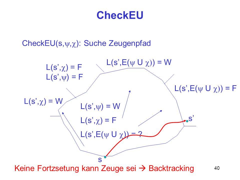40 CheckEU s CheckEU(s,, ): Suche Zeugenpfad L(s, ) = W L(s, ) = F L(s,E( U )) = ? L(s, ) = W L(s, ) = F L(s,E( U ) = W L(s,E( U ) = F s Keine Fortzse