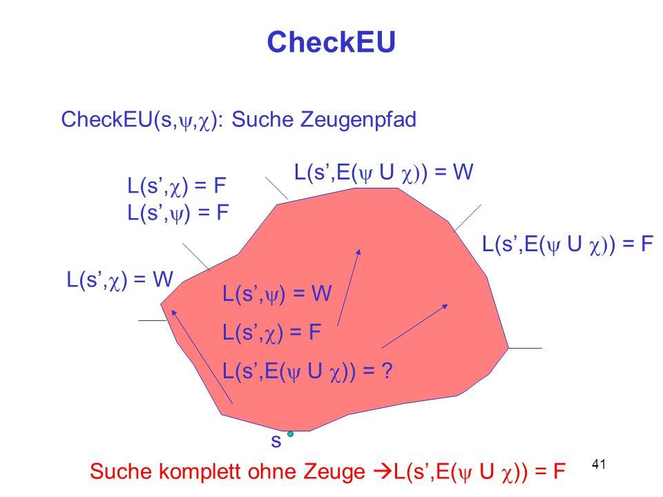41 CheckEU s CheckEU(s,, ): Suche Zeugenpfad L(s, ) = W L(s, ) = F L(s,E( U )) = ? L(s, ) = W L(s, ) = F L(s,E( U ) = W L(s,E( U ) = F Suche komplett