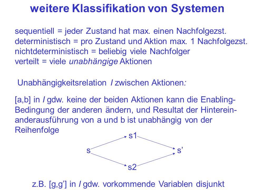 weitere Klassifikation von Systemen sequentiell = jeder Zustand hat max. einen Nachfolgezst. deterministisch = pro Zustand und Aktion max. 1 Nachfolge