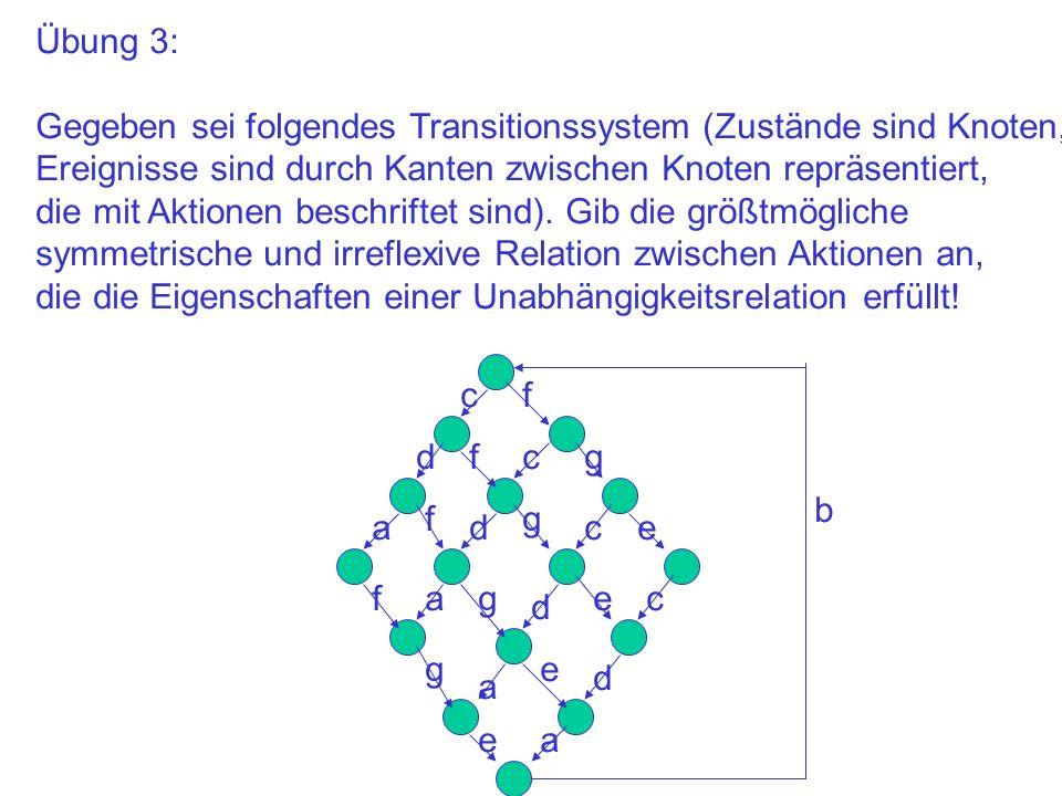 Übung 3: Gegeben sei folgendes Transitionssystem (Zustände sind Knoten, Ereignisse sind durch Kanten zwischen Knoten repräsentiert, die mit Aktionen b