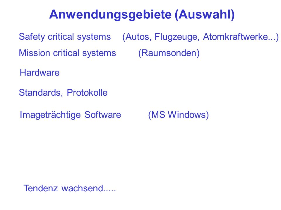 Anwendungsgebiete (Auswahl) Safety critical systems (Autos, Flugzeuge, Atomkraftwerke...) Mission critical systems(Raumsonden) Hardware Standards, Protokolle Imageträchtige Software(MS Windows) Tendenz wachsend.....