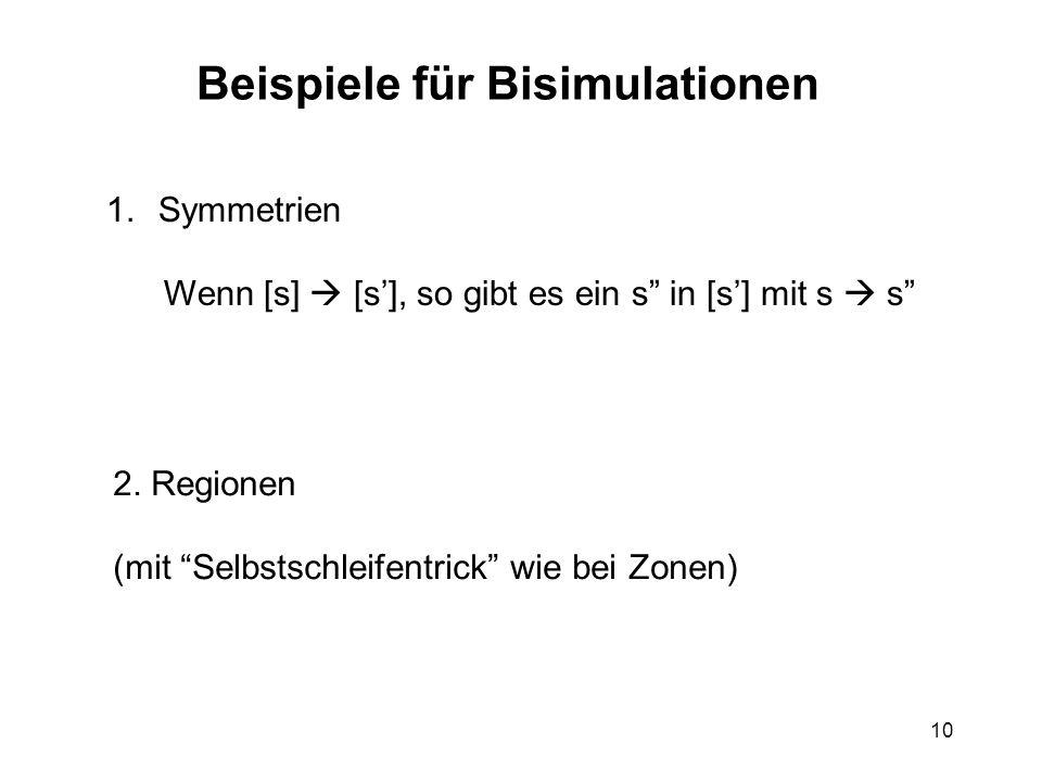 10 Beispiele für Bisimulationen 1.Symmetrien Wenn [s] [s], so gibt es ein s in [s] mit s s 2.