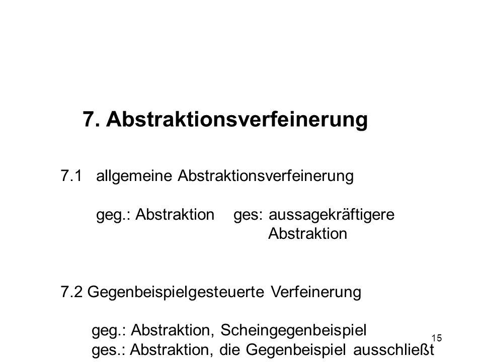 15 7. Abstraktionsverfeinerung 7.1 allgemeine Abstraktionsverfeinerung geg.: Abstraktion ges: aussagekräftigere Abstraktion 7.2 Gegenbeispielgesteuert