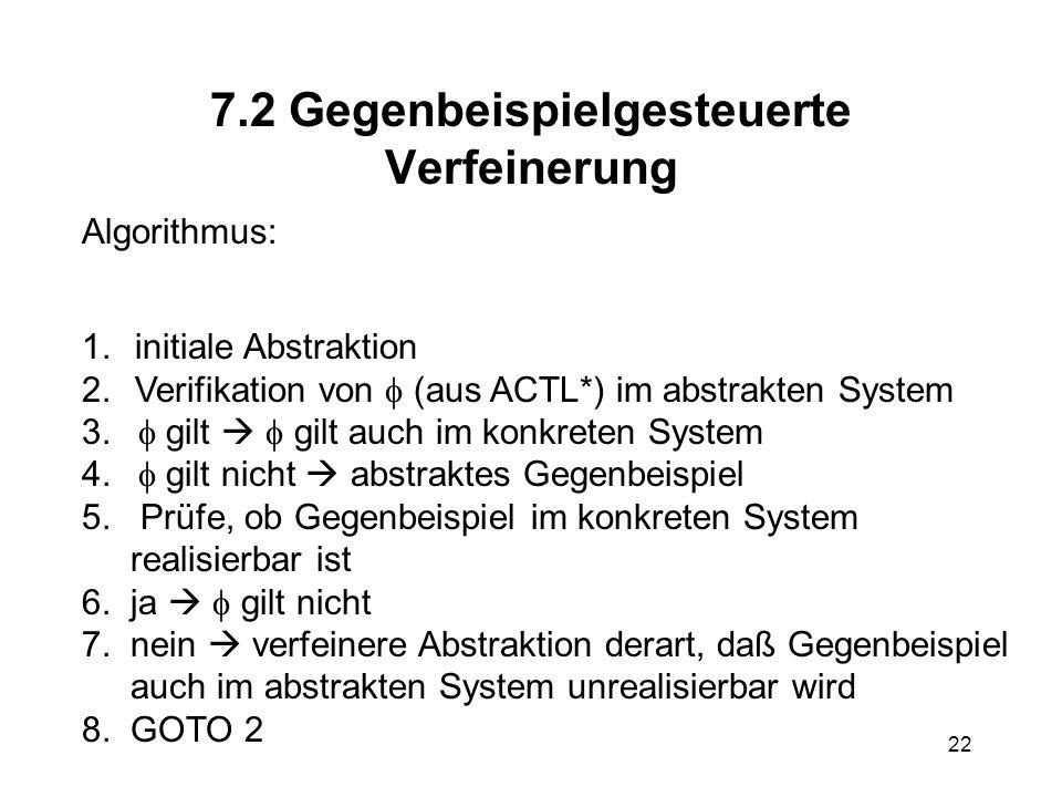 22 7.2 Gegenbeispielgesteuerte Verfeinerung Algorithmus: 1.initiale Abstraktion 2.Verifikation von (aus ACTL*) im abstrakten System 3.