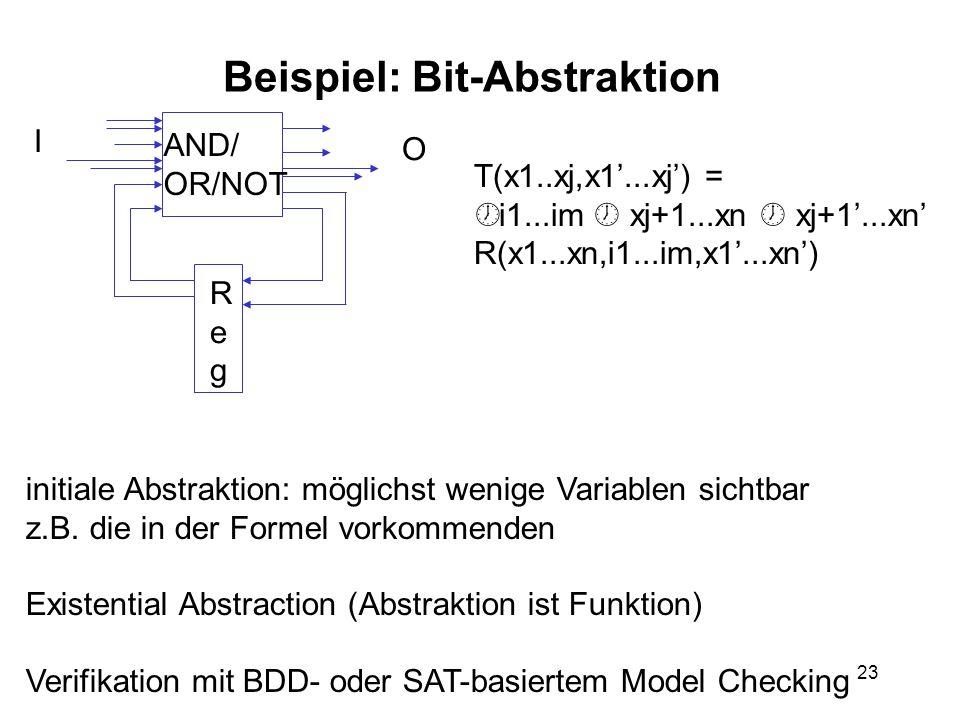 23 Beispiel: Bit-Abstraktion AND/ OR/NOT RegReg I O T(x1..xj,x1...xj) = ½ i1...im xj+1...xn xj+1...xn R(x1...xn,i1...im,x1...xn) initiale Abstraktion: möglichst wenige Variablen sichtbar z.B.