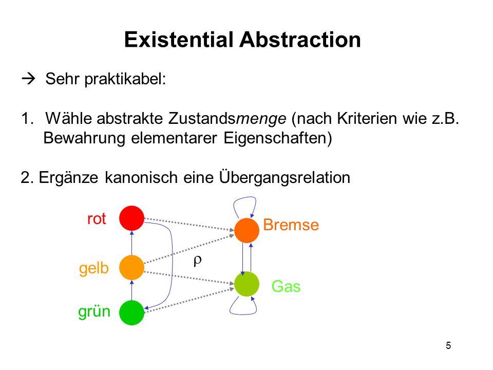 5 Existential Abstraction Sehr praktikabel: 1.Wähle abstrakte Zustandsmenge (nach Kriterien wie z.B. Bewahrung elementarer Eigenschaften) 2. Ergänze k