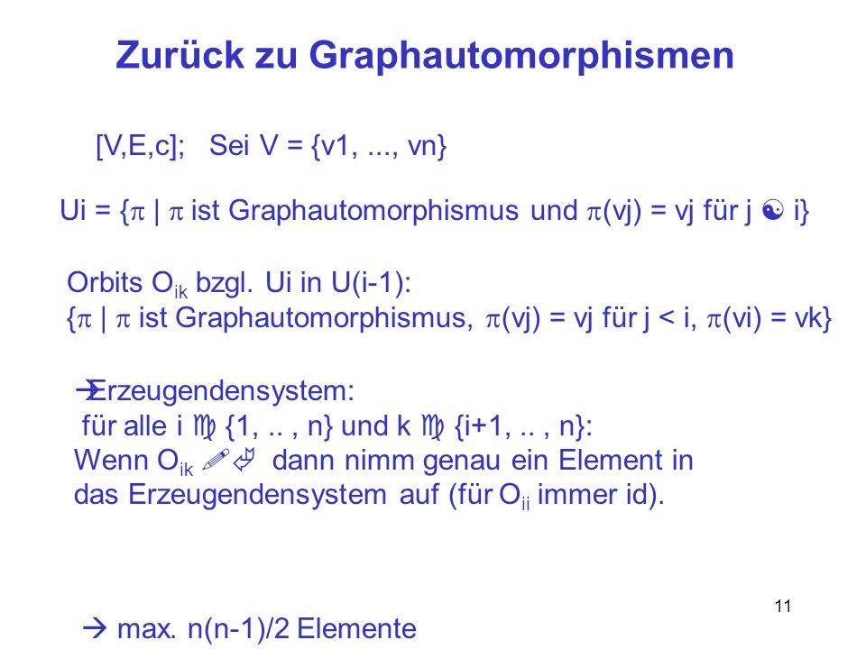 11 Zurück zu Graphautomorphismen [V,E,c]; Sei V = {v1,..., vn} Ui = { | ist Graphautomorphismus und (vj) = vj für j i} Orbits O ik bzgl.