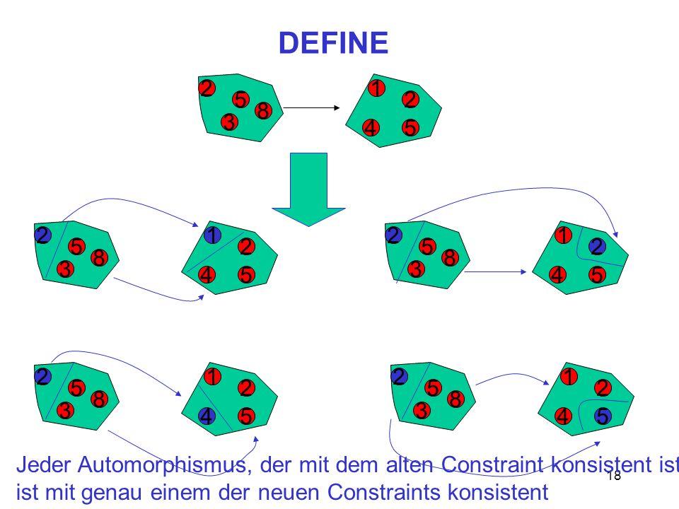 18 DEFINE 2 5 3 8 45 2 1 2 5 3 8 45 2 12 5 3 8 45 2 1 2 5 3 8 45 2 12 5 3 8 45 2 1 Jeder Automorphismus, der mit dem alten Constraint konsistent ist, ist mit genau einem der neuen Constraints konsistent