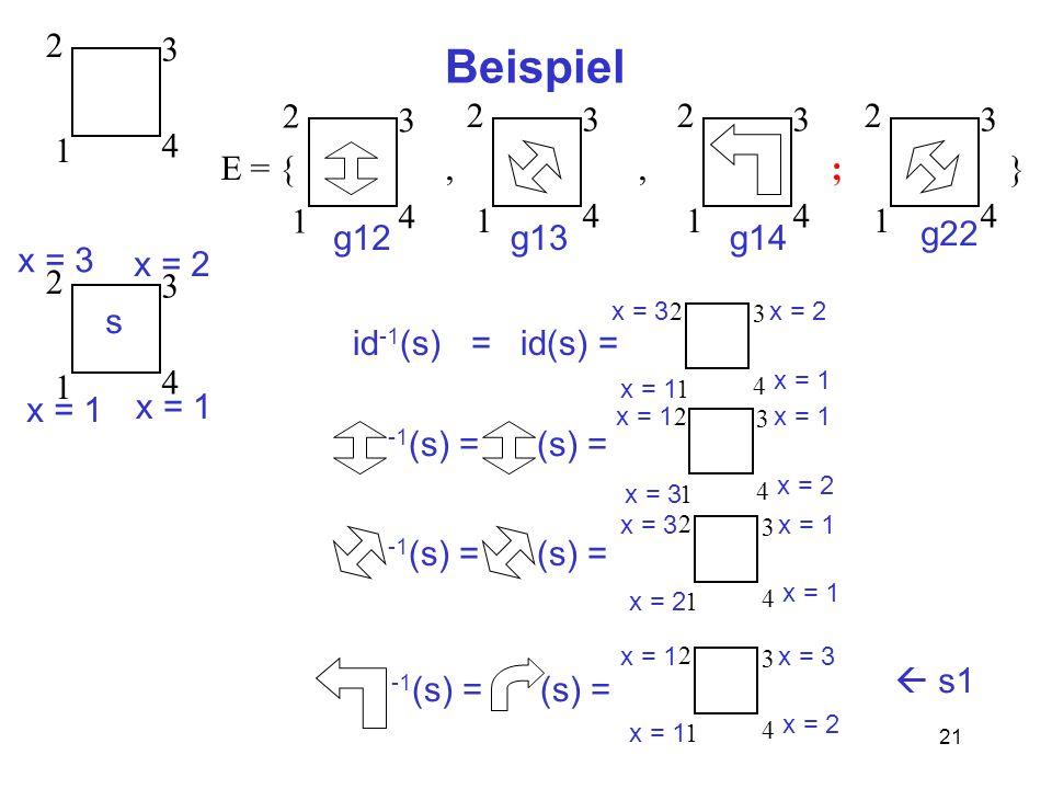 21 Beispiel 1 2 3 4 E = {,, ; } 1 2 3 4 1 2 3 4 1 2 3 4 1 2 3 4 g12g13g14 g22 1 2 3 4 s x = 1 x = 2 x = 3 1 2 3 4 id -1 (s) = id(s) = x = 1 x = 2 x = 3 -1 (s) = 1 2 3 4 x = 3 x = 2 x = 1 (s) = 1 2 3 4 x = 1 x = 2 x = 3 x = 1 -1 (s) =(s) = 1 2 3 4 x = 2 x = 1 x = 3 -1 (s) =(s) = s1