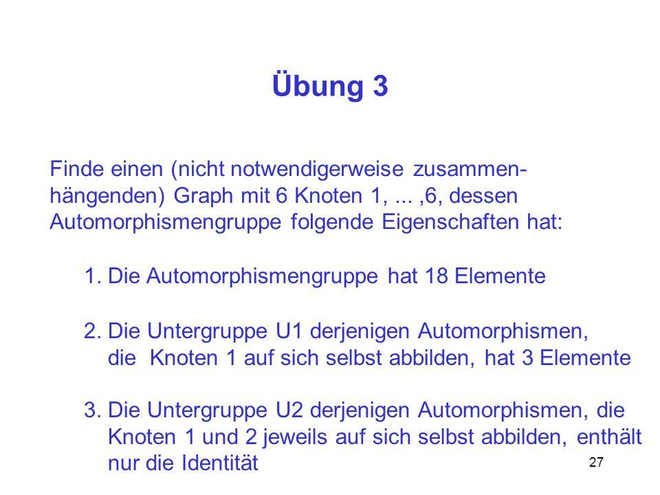 27 Übung 3 Finde einen (nicht notwendigerweise zusammen- hängenden) Graph mit 6 Knoten 1,...,6, dessen Automorphismengruppe folgende Eigenschaften hat: 1.