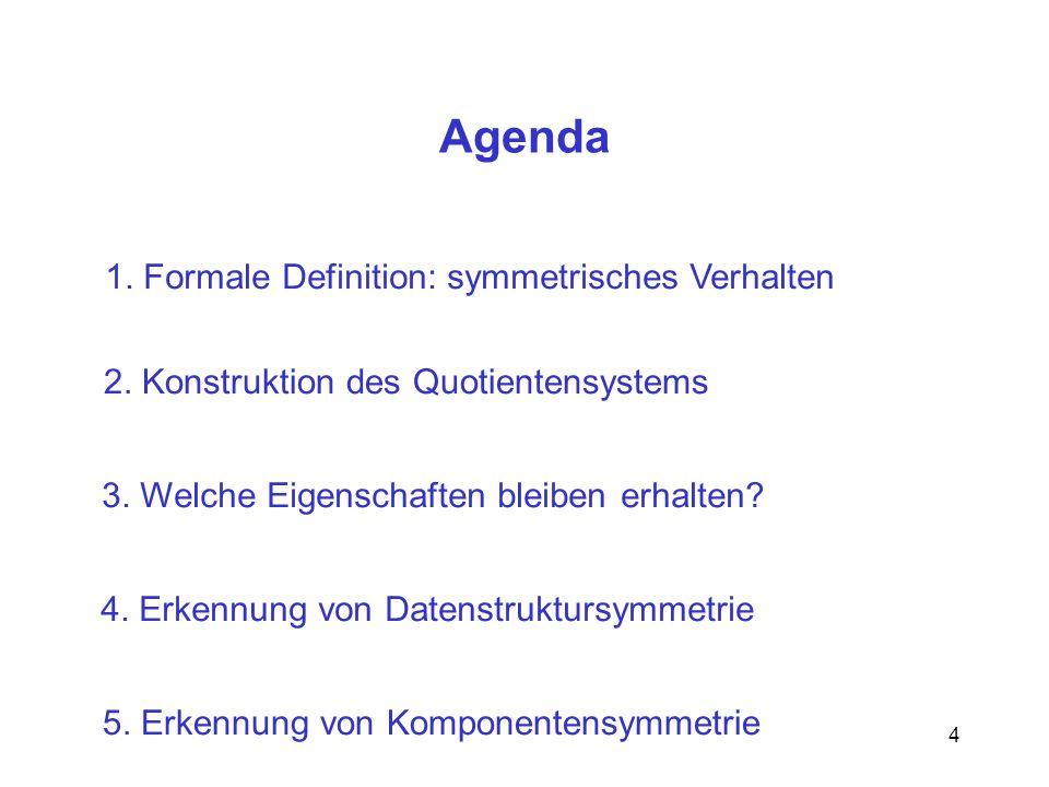 4 Agenda 1.Formale Definition: symmetrisches Verhalten 2.