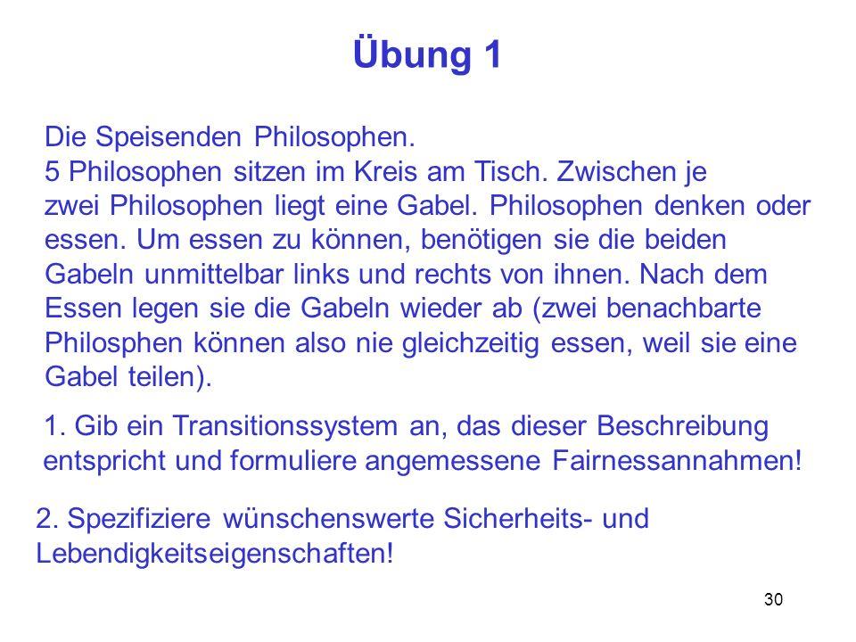30 Übung 1 Die Speisenden Philosophen.5 Philosophen sitzen im Kreis am Tisch.