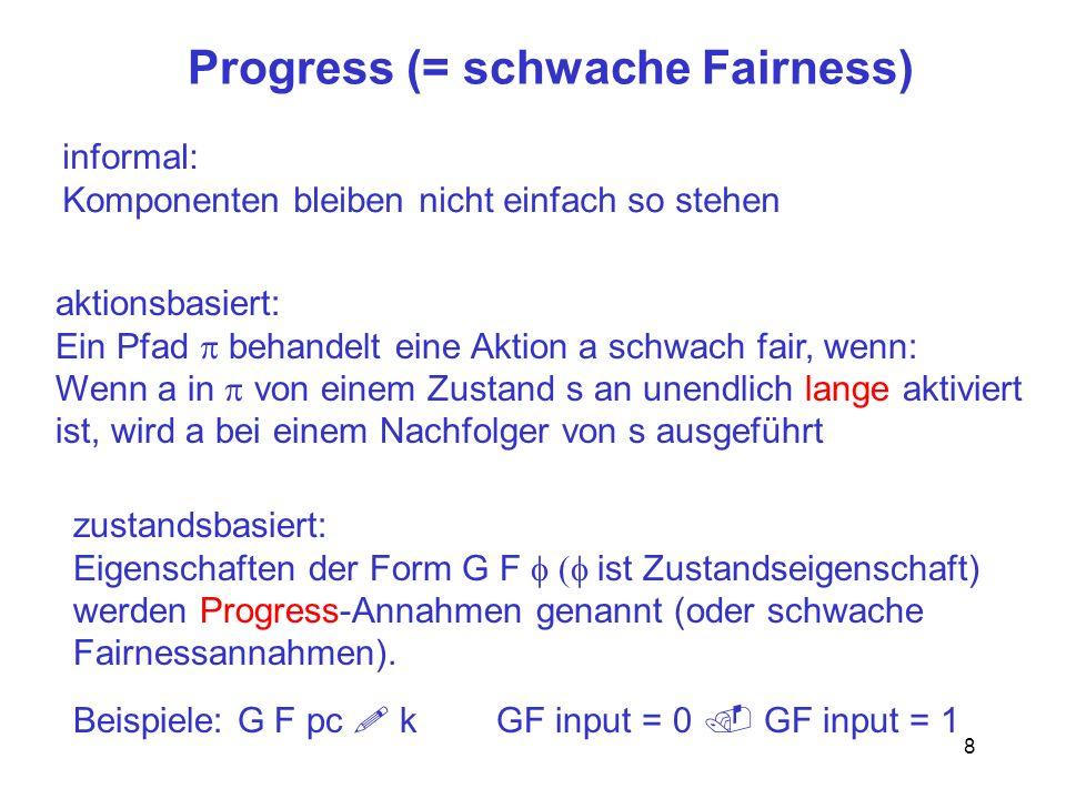 8 Progress (= schwache Fairness) zustandsbasiert: Eigenschaften der Form G F ist Zustandseigenschaft) werden Progress-Annahmen genannt (oder schwache Fairnessannahmen).