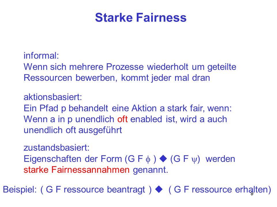 10 Fairness - Zusammenfassung Spezifikation = Sicherheitseigenschaft + Lebendigkeitseigenschaft Fairnessannahmen sind Lebendigkeitseigenschaften Vorsicht!k: receive(m,Mailbox) G F pc k G F (pc k Mailbox= ) System = Transitionssystem + Fairnessannahmen